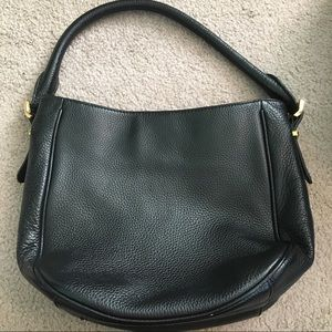 Black J. Crew Leather Bag with Gold Hardware